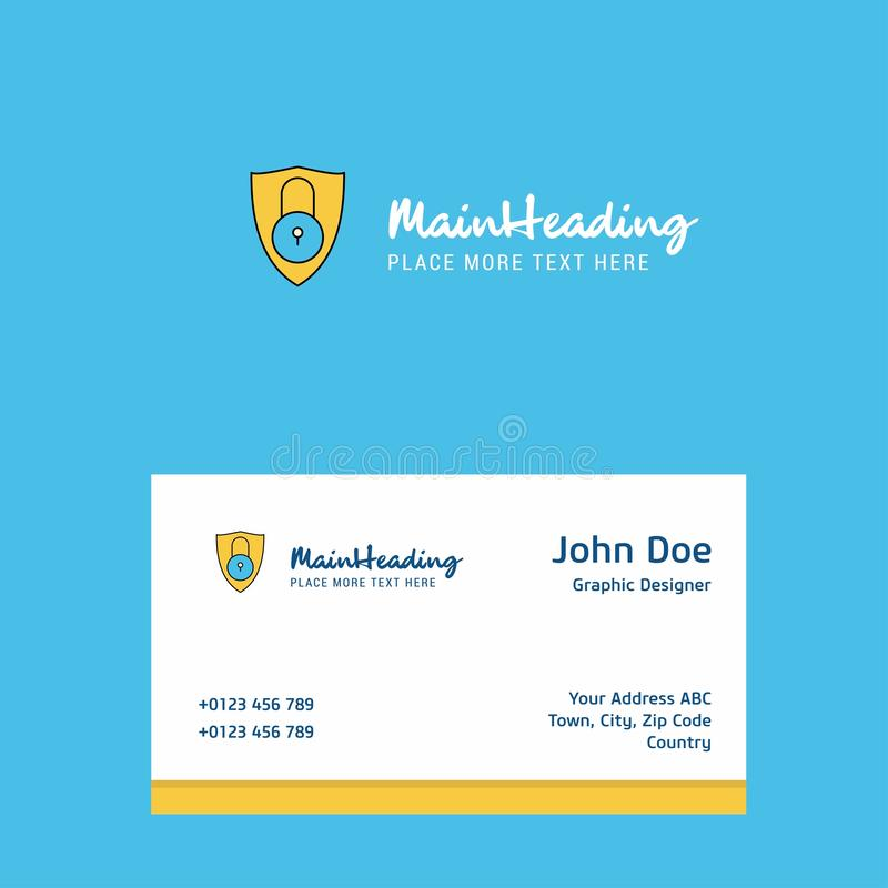 Protected logo Design with business card template. Elegant corporate identity. - Vector stock illustration