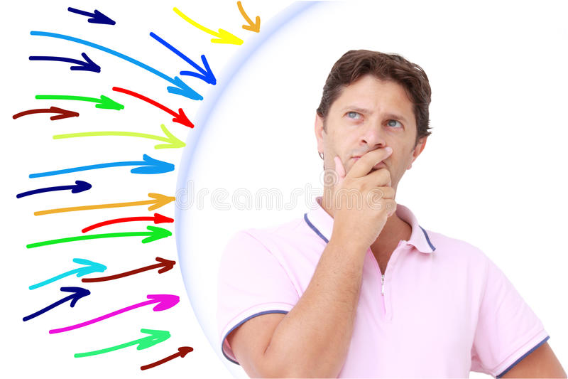 Protected man. A man attacked by many colored arrows but protected by a barrier royalty free stock images