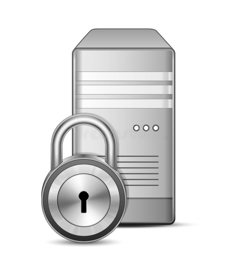 Secured server. Protected Sever. IT security concept. Server and padlock stock illustration