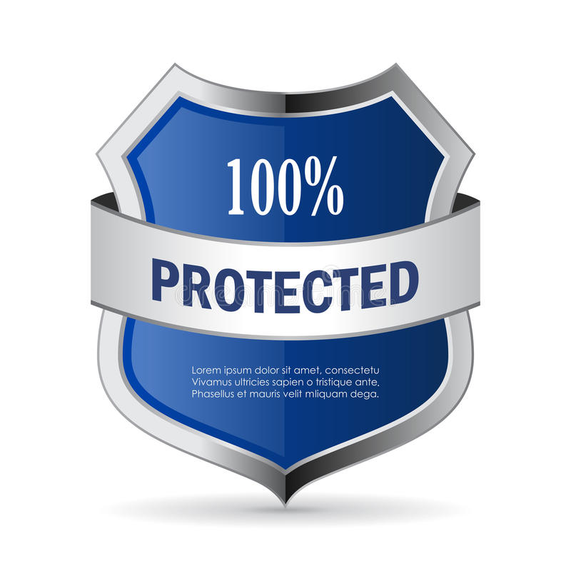 100 protected shield security vector icon royalty free illustration