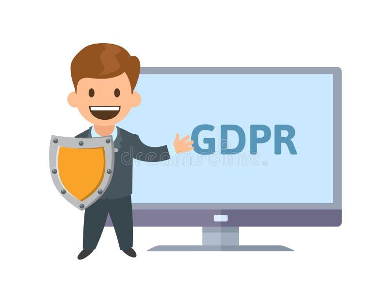 Protecteur de GDPR Personnage de dessin animé drôle avec un bouclier devant l'écran montrant des lettres de GDPR Vecteur plat illustration stock