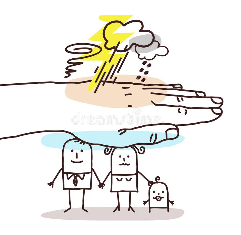 Protecting Big Hand - Cartoon Family and Stormy Weather stock illustration