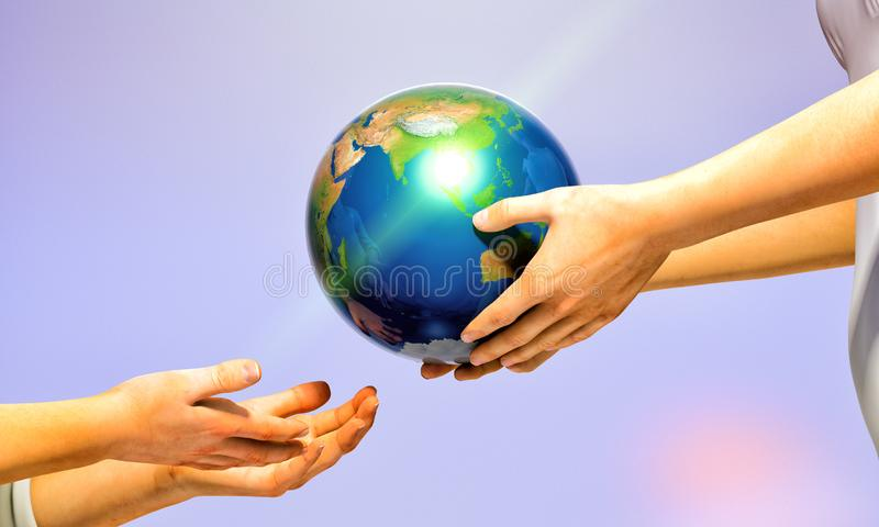 Protecting the earth for the future. Inheriting the earth - passing the torch - leaving behind our legacy royalty free illustration