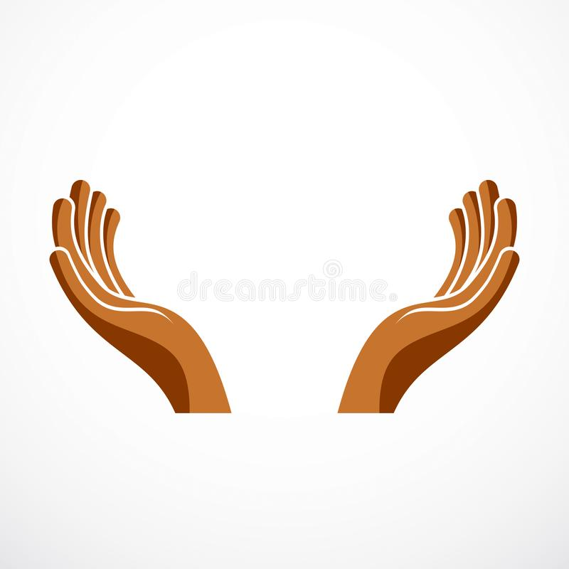Protecting Hands of care, tender and defending human hands vector design. Protecting Hands of care, tender and defending human hands vector design, with a copy stock illustration