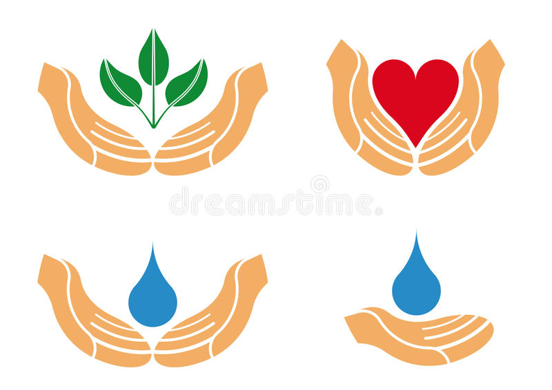 Protecting hands Logo vector illustration