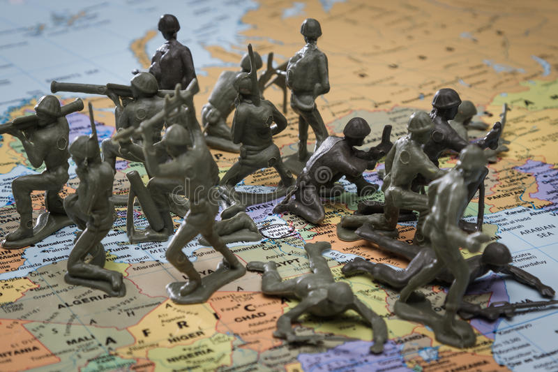 Protecting Israel. Concept image using a wold map and toy soldiers to represent protection on Israel royalty free stock photos
