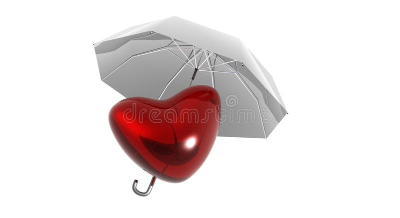 Protecting Love. Red heart protected by and umbrella vector illustration
