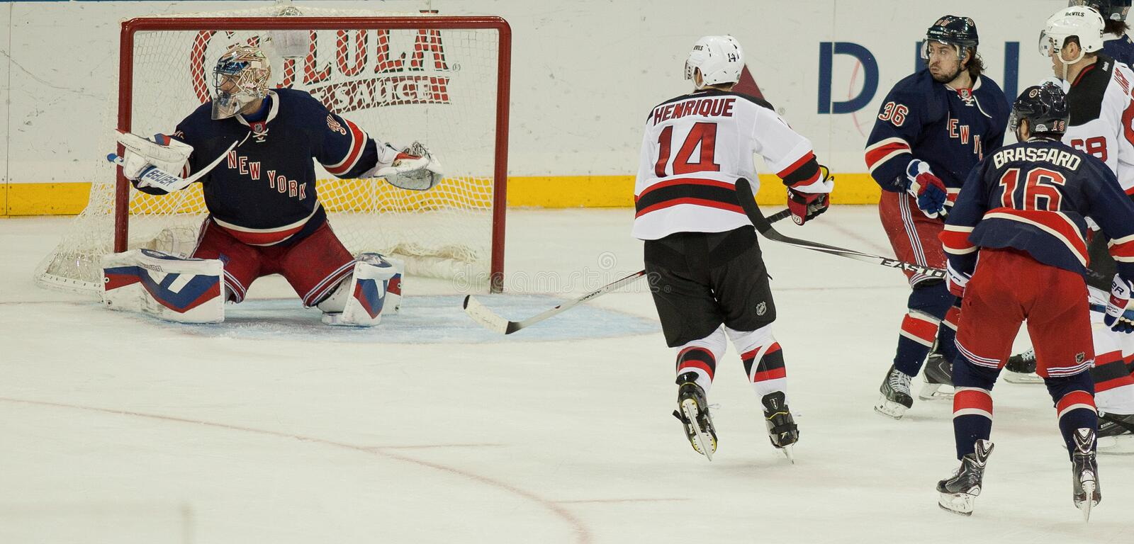 Protecting the Net--Hockey Action at the Garden stock image