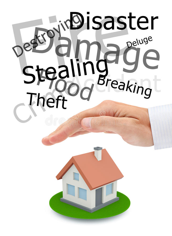Protecting of your real estate. Conceptual image royalty free stock images