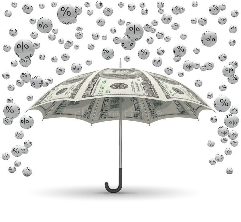 Protection. 3D concept with money umbrella and percent balls