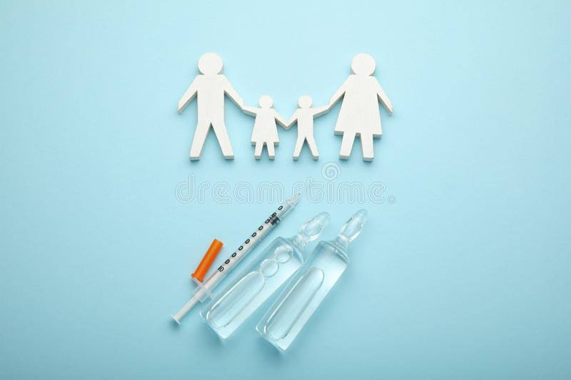 Protection against viruses and infections. Immunization and vaccination in family.  royalty free stock image