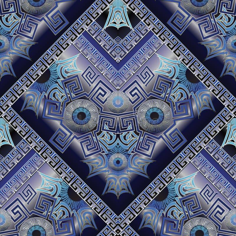 Protection amulet seamless pattern. Nazar. Devil eye. Esoteric m royalty free illustration