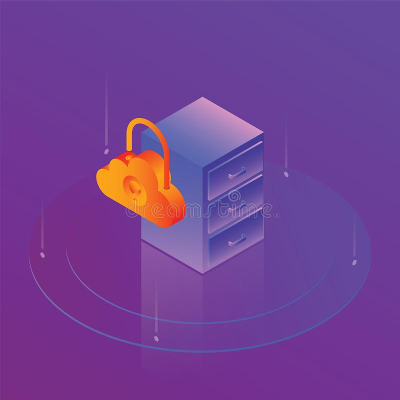 Protection of cloud data stock illustration