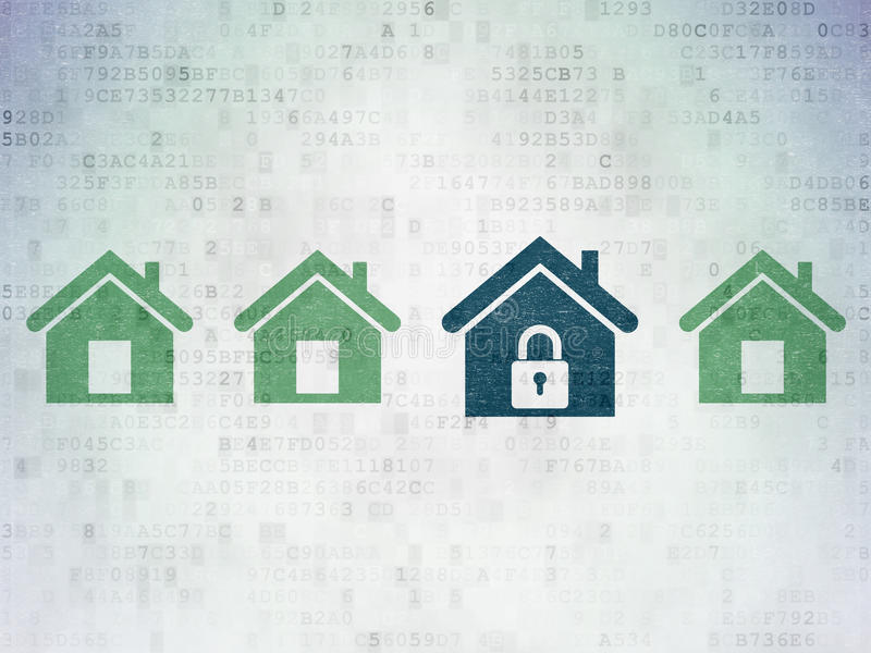 Protection concept: blue home icon on digital. Protection concept: row of Painted green home icons around blue home icon on Digital Paper background, 3d render royalty free stock photos