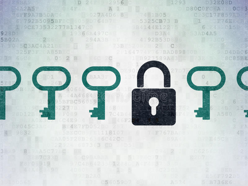 Protection concept: closed padlock icon on Digital. Protection concept: row of Painted blue key icons around black closed padlock icon on Digital Paper stock images