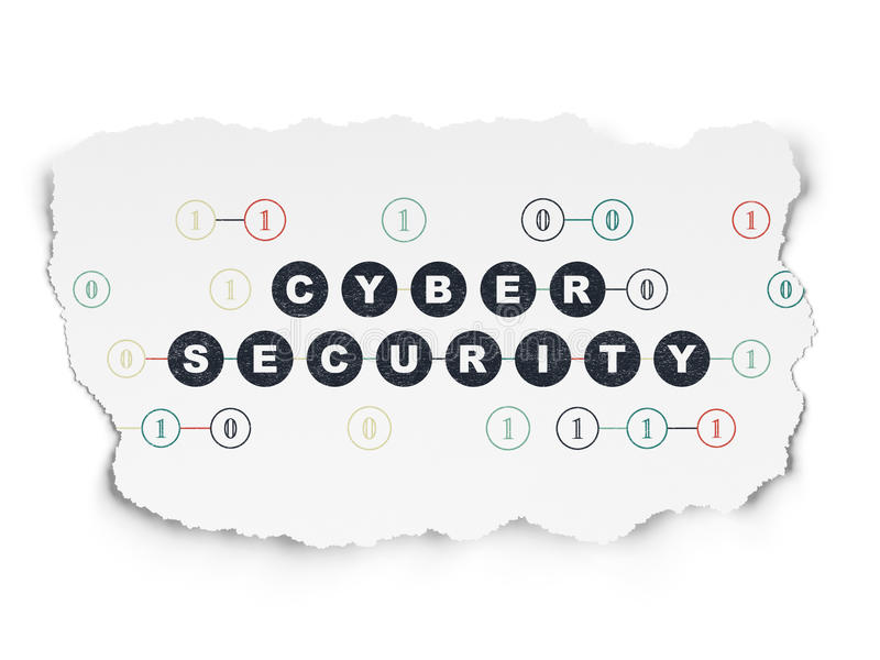 Protection concept: Cyber Security on Torn Paper. Protection concept: Painted black text Cyber Security on Torn Paper background with Scheme Of Binary Code, 3d royalty free illustration