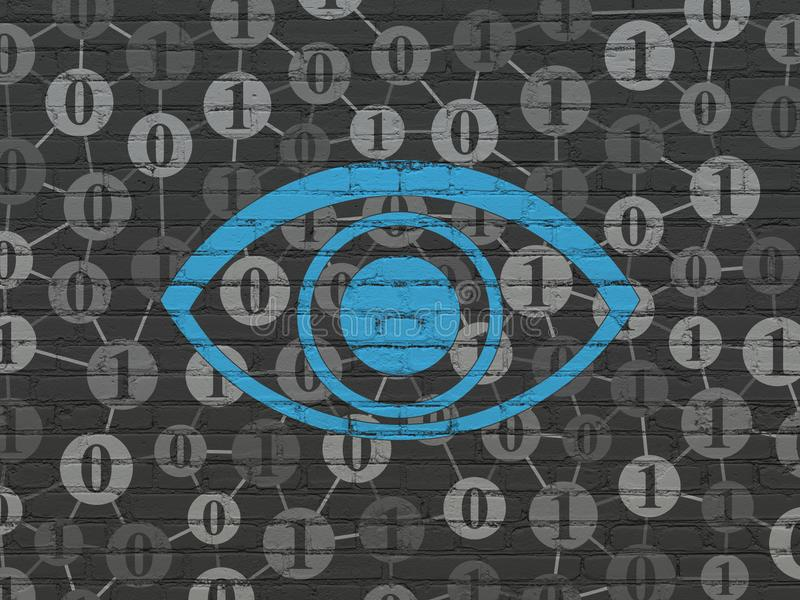 Protection concept: Eye on wall background. Protection concept: Painted blue Eye icon on Black Brick wall background with Scheme Of Binary Code royalty free illustration