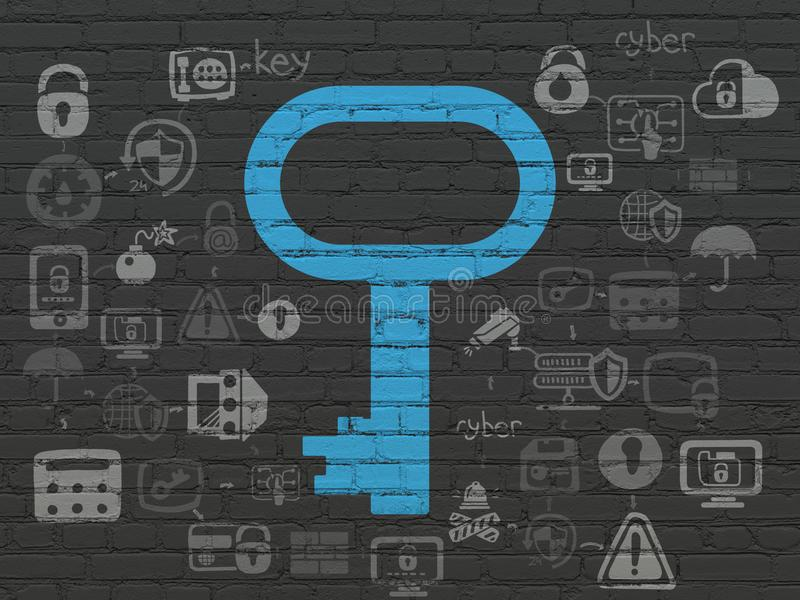 Protection concept: Key on wall background. Protection concept: Painted blue Key icon on Black Brick wall background with Scheme Of Hand Drawn Security Icons vector illustration