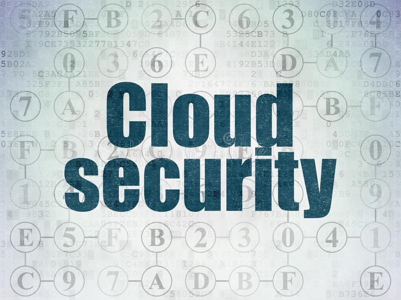 Protection concept: Cloud Security on Digital Data Paper background. Protection concept: Painted blue text Cloud Security on Digital Data Paper background with royalty free illustration
