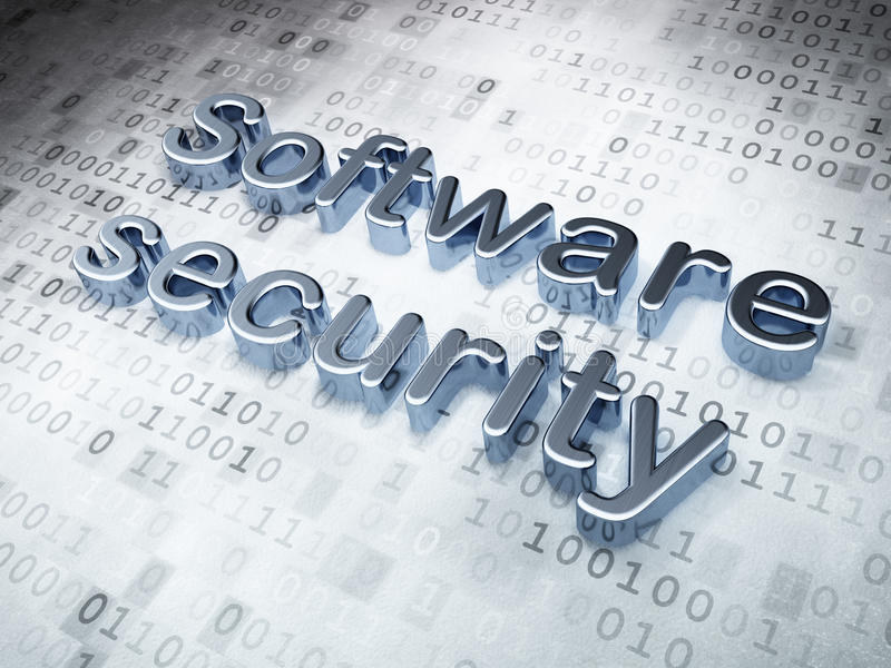 Protection concept: Silver Software Security on stock photo