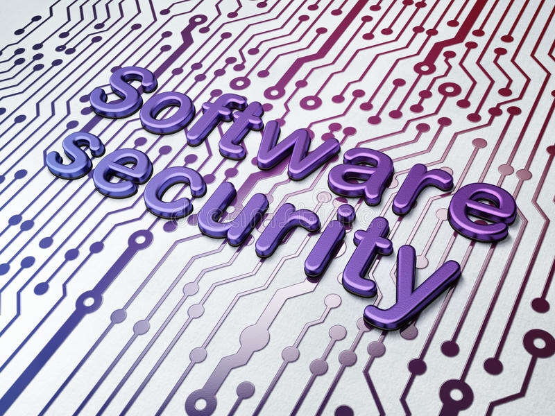 Protection concept: Software Security on Circuit. Board background, 3d render royalty free stock images