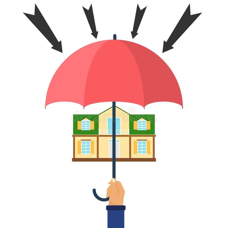 Protection contre des attaques, maison sous un parapluie illustration libre de droits