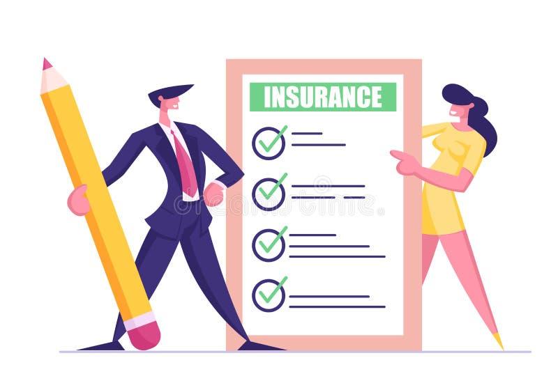Protection d'intérêts de santé, de vie, de Real Estate et de propriété Homme d'affaires dans le costume avec le crayon et la jeun illustration de vecteur