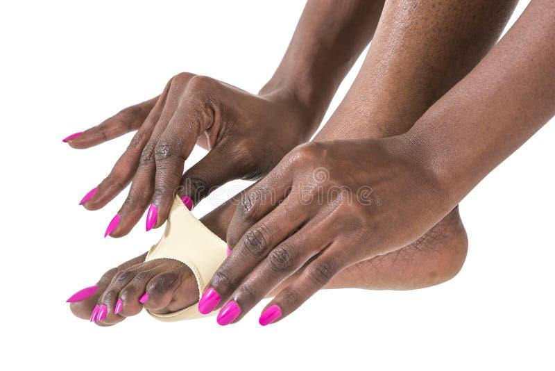 Protection d'oignon de pied de femme photo libre de droits