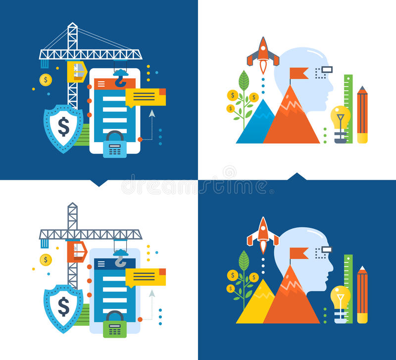 Protection, data security, development, monetization of applications, creative process, investment royalty free illustration