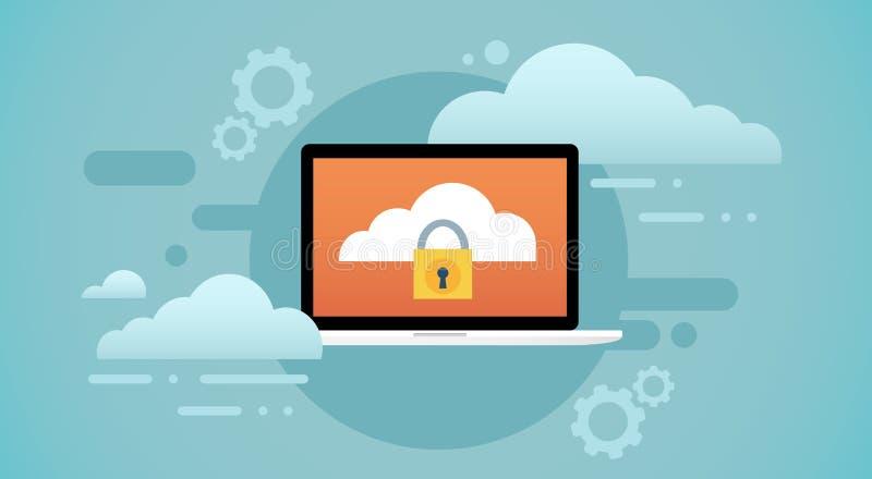 Protection de confidentialité des données d'écran de serrure de base de données de nuage d'ordinateur portable illustration de vecteur