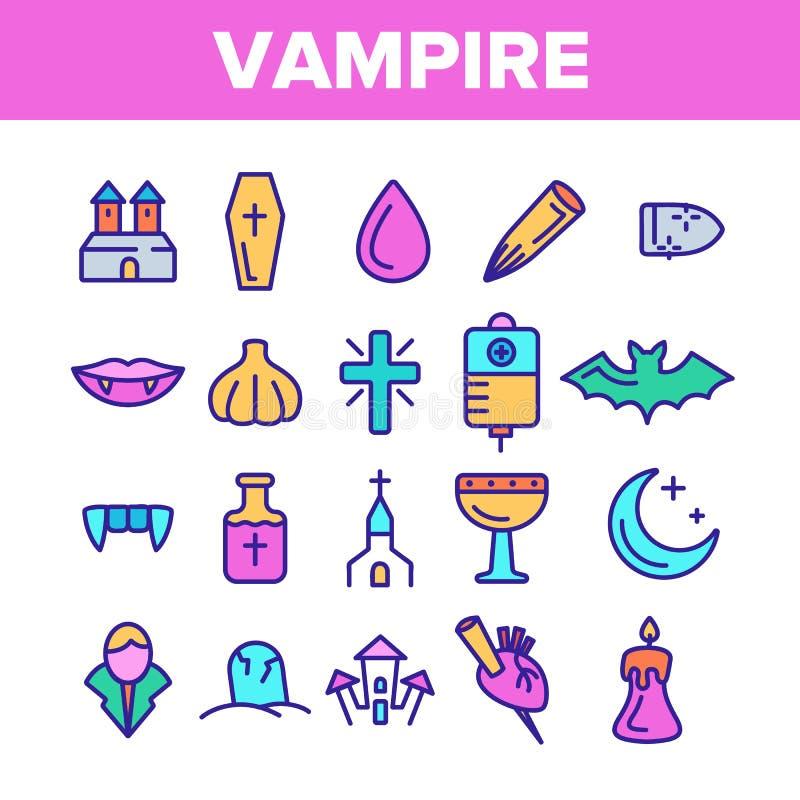 Protection de couleur contre l'ensemble linéaire d'icônes de vecteur de vampire illustration de vecteur