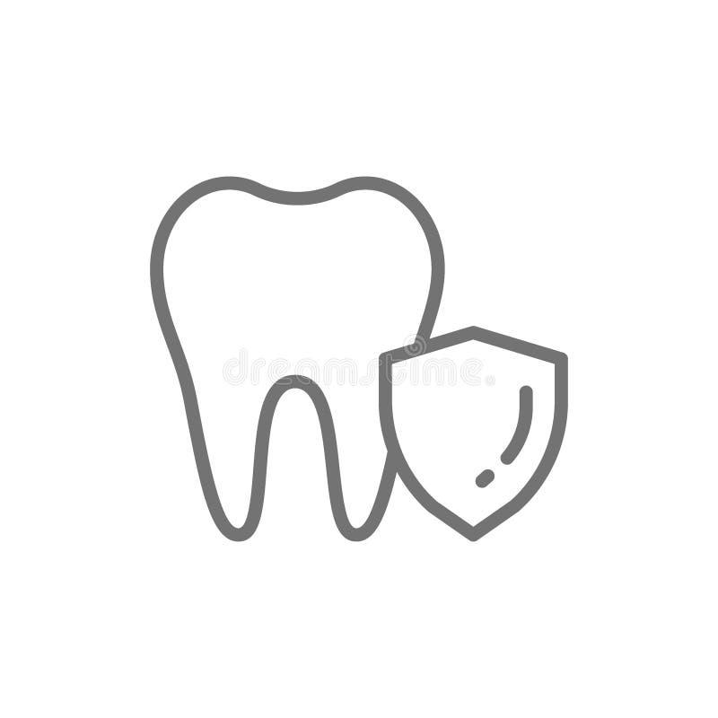 Protection de dent de vecteur, ligne de sauvegarde dentaire icône illustration stock