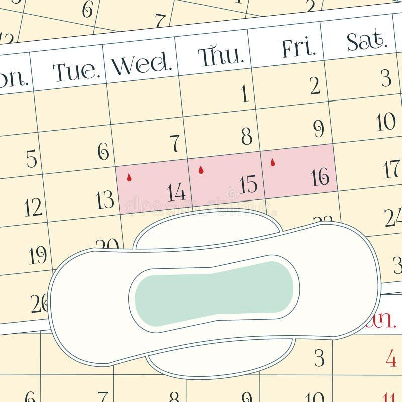 Protection de douleur de période de règles Hygiène féminine, jours pluvieux de revues mensuelles illustration stock