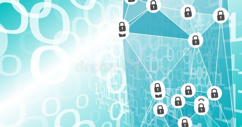 Protection de espionnage de Cyber, sécurité de virus informatique illustration libre de droits