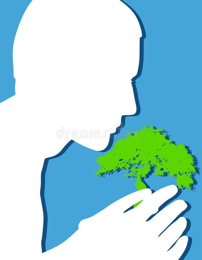 Protection de l'arbre symbolique de la terre illustration stock