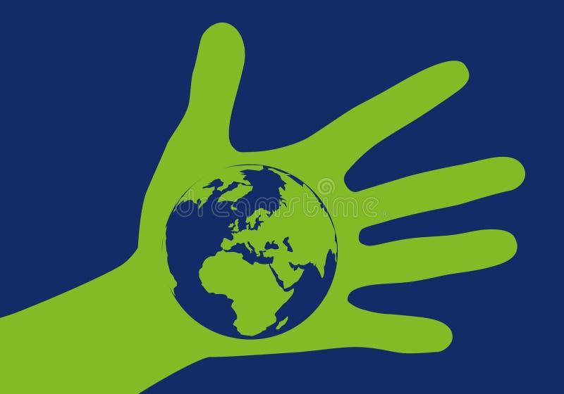 Protection de l'environnement avec le symbole d'une main tenant la terre illustration de vecteur