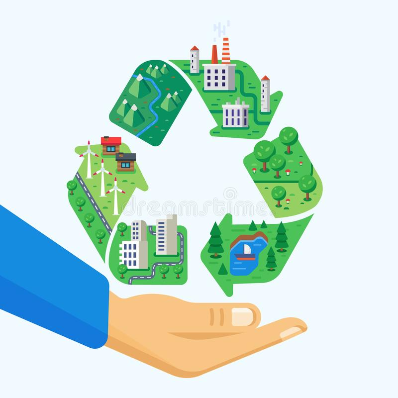 Protection de l'environnement Nettoyez la ville, paysages, production wasteless, usines, moulins à vent illustration libre de droits