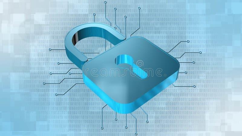 Protection de l'information et sécurité de cyber - cadenas fermé sur le fond numérique illustration de vecteur