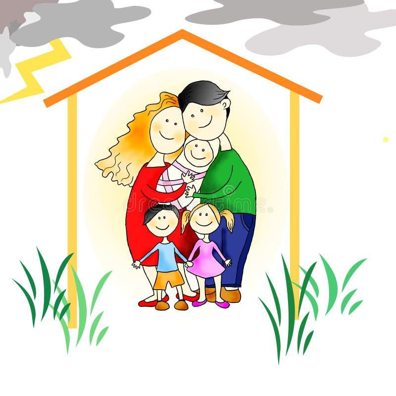 Protection de la famille contre toute l'adversité illustration de vecteur