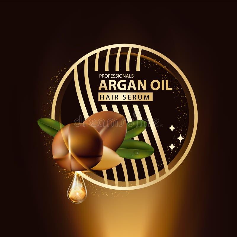 Protection de soins capillaires d'huile d'argan contenue dans la bouteille illustration libre de droits