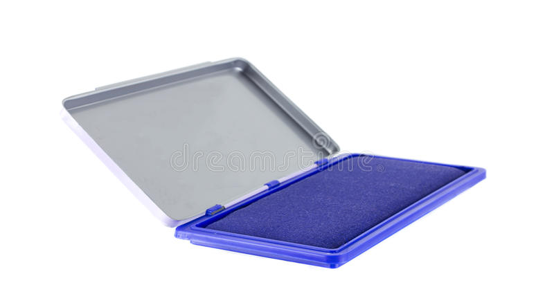 Protection de timbre bleue d'isolement sur le blanc image stock