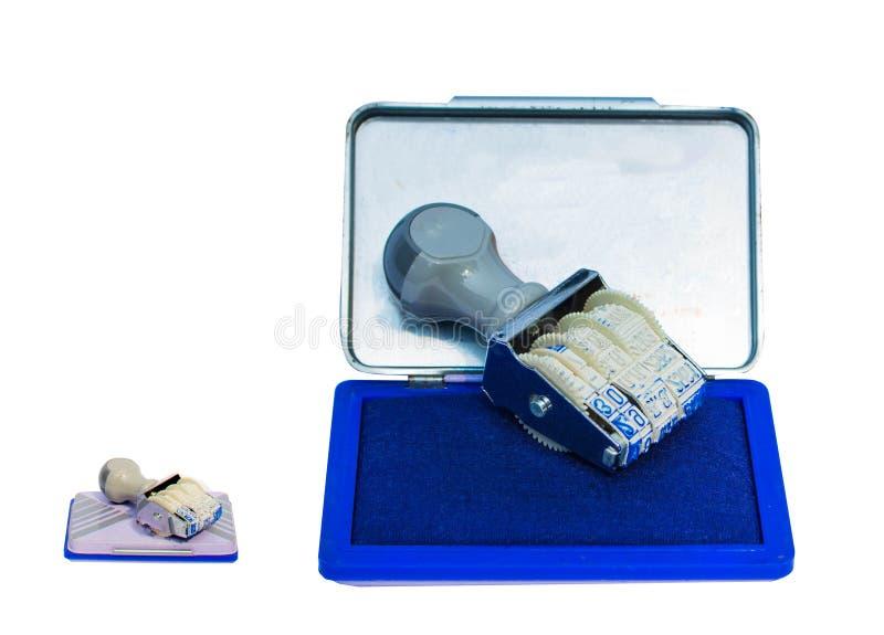 Protection de timbre encrée bleue utilisée comme d'isolement images stock
