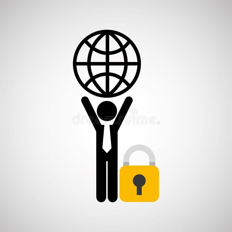Protection de transport de globe de globe d'homme de silhouette illustration libre de droits