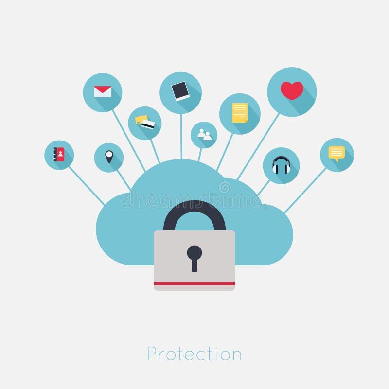 Protection de vol de données Fixez le calcul de nuage illustration libre de droits