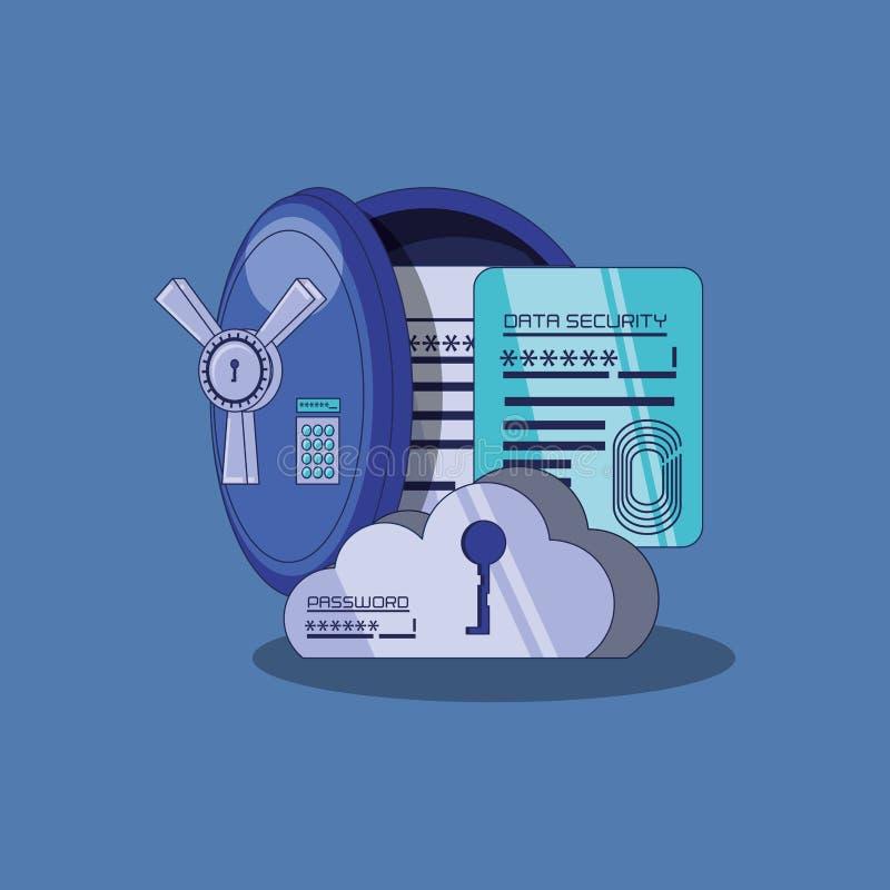 Protection des données avec la boîte sûre illustration de vecteur