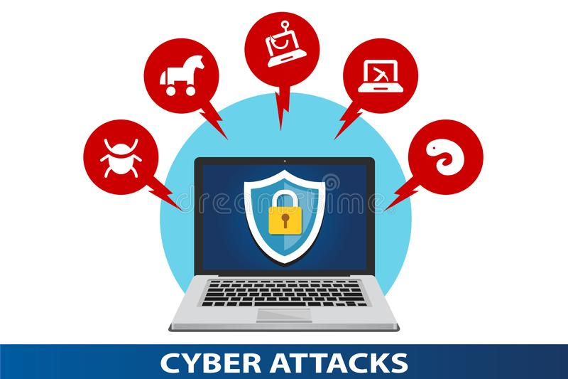 Protection des données contre des attaques de cyber illustration stock