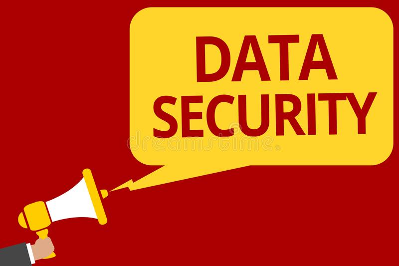 Protection des données d'écriture des textes d'écriture Mot de passe de supports de chiffrage de disque de confidentialité de sig illustration libre de droits