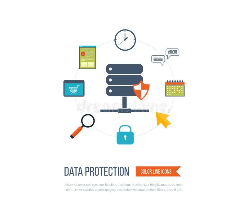Protection des données et travail sûr Sécurité d'investissement illustration de vecteur