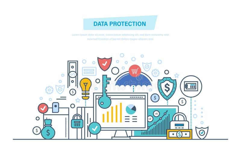 Protection des données, logiciel d'antivirus, intimité L'information confidentielle sûre Finances de sécurité illustration de vecteur