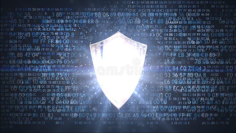 Protection des données personnelles Bouclier de protection de réseau illustration libre de droits